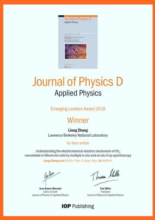 Prof  Liang Zhang won The JPhysD Emerging Leaders Award